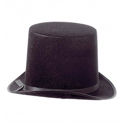 cappello a cilindro alto in feltro, nero